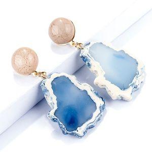 Acrylic Stone Blue Earrings